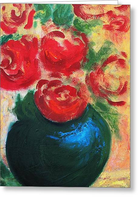 Red Roses In Blue Vase Greeting Card