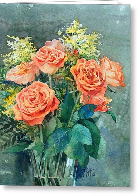 Red Roses Greeting Card by Peter Sit