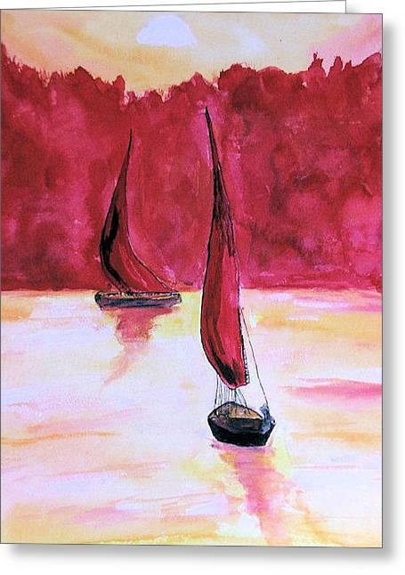 Red Sails Greeting Card by Alethea McKee