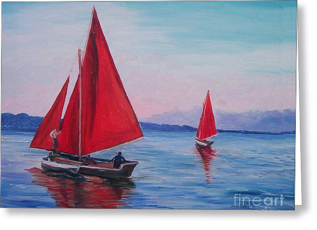 Greeting Card featuring the painting Red Sails On Irish Coast by Julie Brugh Riffey