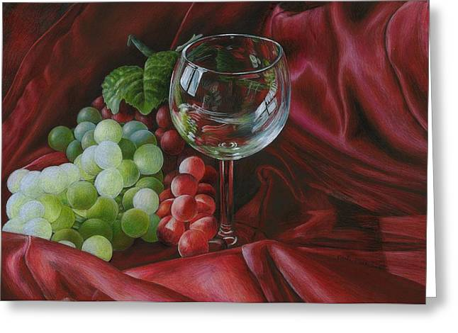 Red Satin And Grapes Greeting Card
