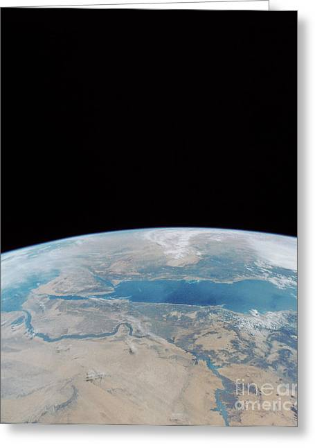 Red Sea And Suez Canal Greeting Card by NASA / Science Source