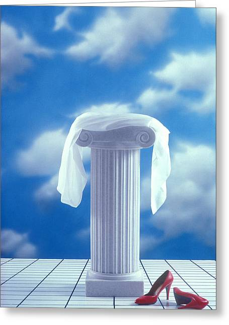 Red Shoes And Pedestal Greeting Card by Garry Gay