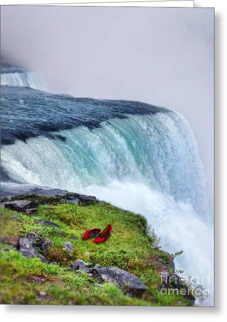 Red Shoes Left By The Falls Greeting Card