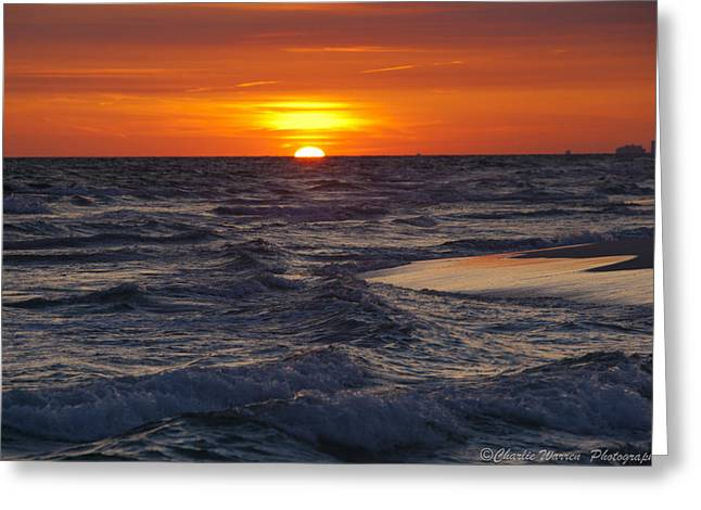 Red Skies At Night Greeting Card by Charles Warren