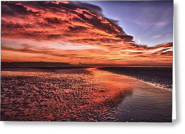 Red Sky Beach Sunrise Greeting Card