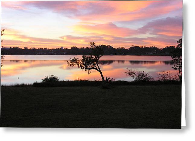 Greeting Card featuring the photograph Red Sky In The Morning by Lou Belcher