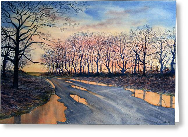 Red Sky On The Road From Sledmere Greeting Card