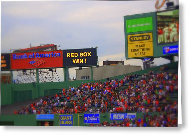 Red Sox Win Greeting Card by Greg DeBeck