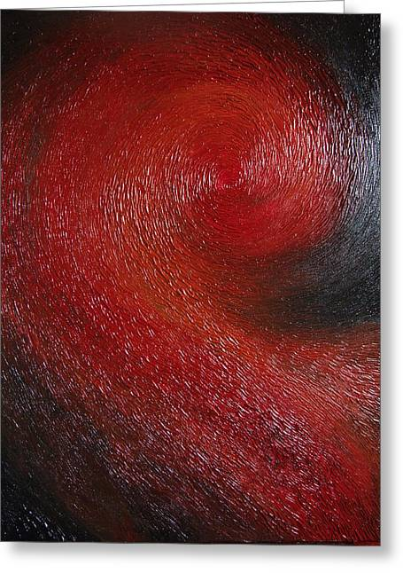 Red Spiral Greeting Card by Cahl Schroedl