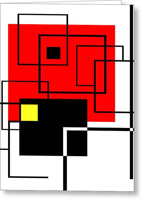 Red Square A La Mondrian Greeting Card by Ginny Schmidt