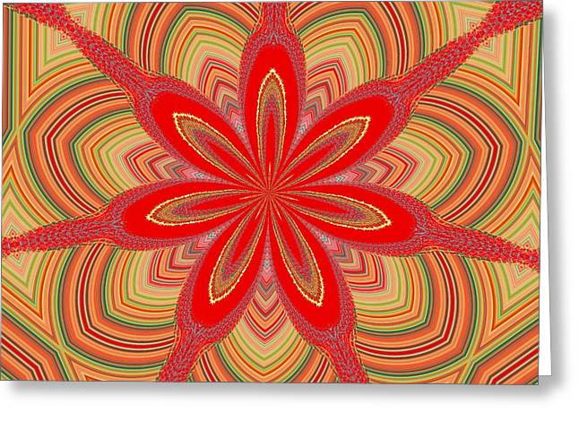 Greeting Card featuring the digital art Red Star Brocade by Alec Drake