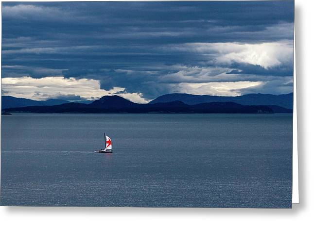 Greeting Card featuring the photograph Red Star Sail by Lorraine Devon Wilke