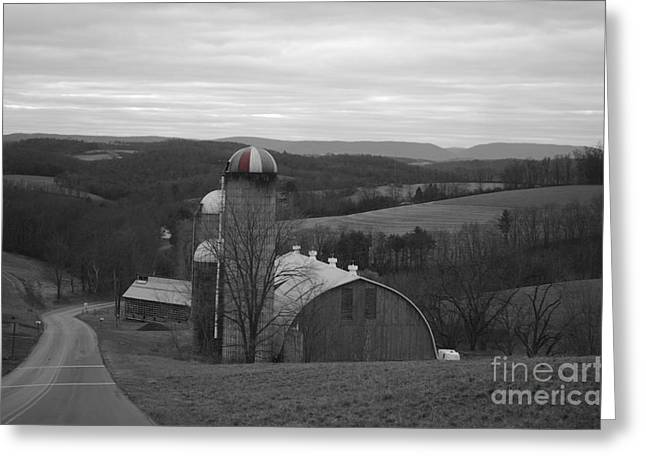 Red Striped Silo Greeting Card by Randy Edwards