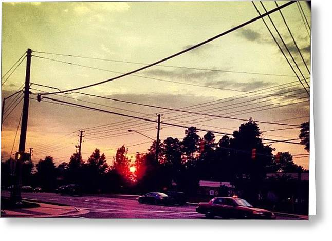 #red #sun Greeting Card by Katie Williams