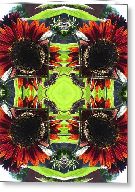 Red Sunflowers And Leaf Greeting Card