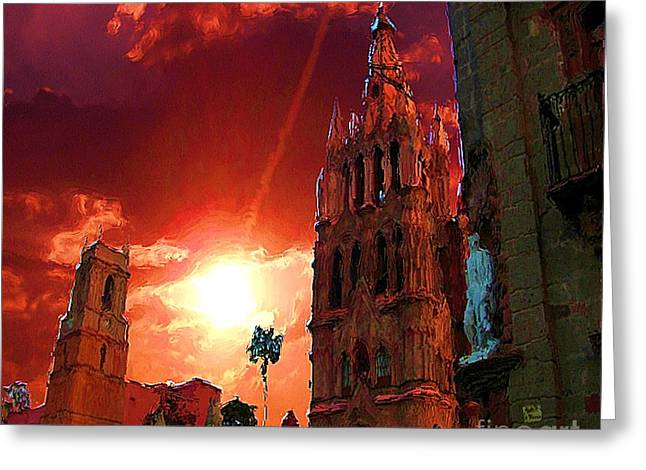 Greeting Card featuring the photograph Red Sunset Over The Paroquio by John  Kolenberg