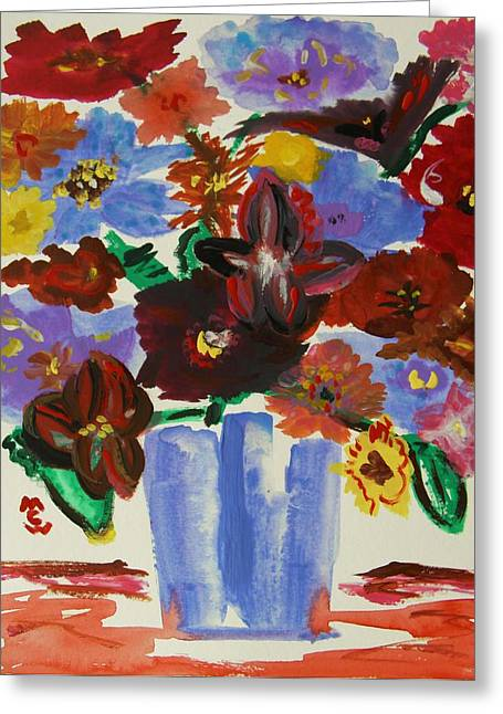 Red Table- Lavender Vase Greeting Card by Mary Carol Williams