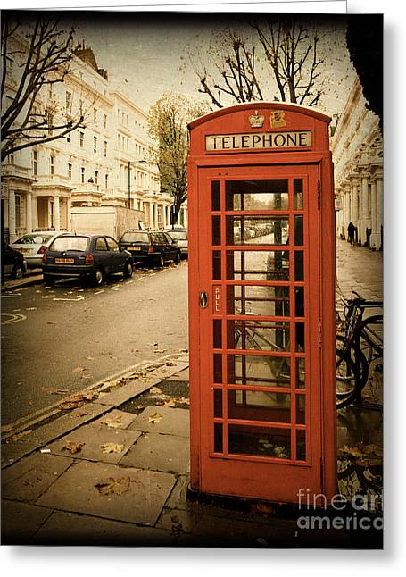Red Telephone Booth In London England In A Grunge Vintage Border Greeting Card by ELITE IMAGE photography By Chad McDermott