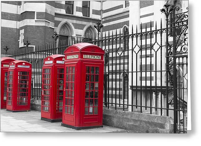 Red Telephone Boxes Greeting Card