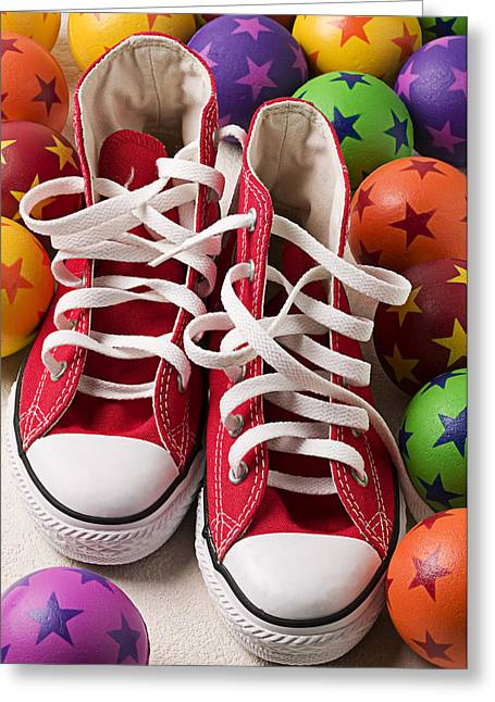 Red Tennis Shoes And Balls Greeting Card
