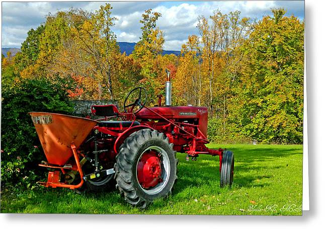 Red Tractor And Green Grass Greeting Card