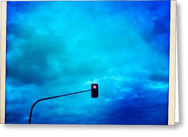 Red Traffic Light And Cloudy Blue Sky Greeting Card