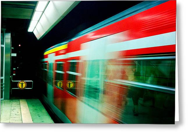 Red Train Blurred Greeting Card by Matthias Hauser