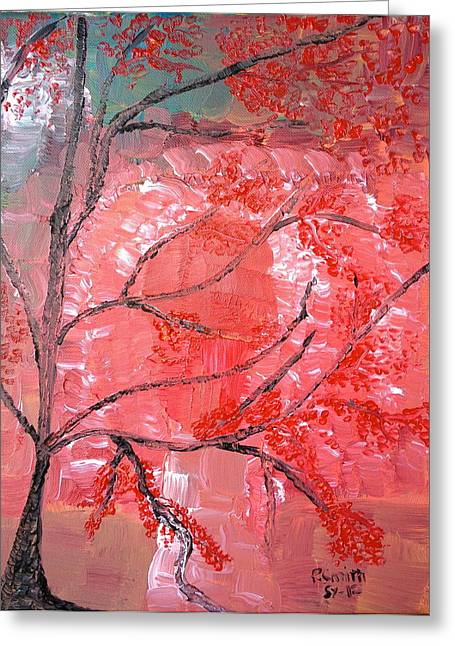 Red Tree Greeting Card by Pretchill Smith
