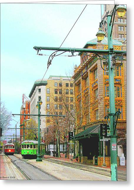 Greeting Card featuring the photograph Red Trolley Green Trolley by Lizi Beard-Ward