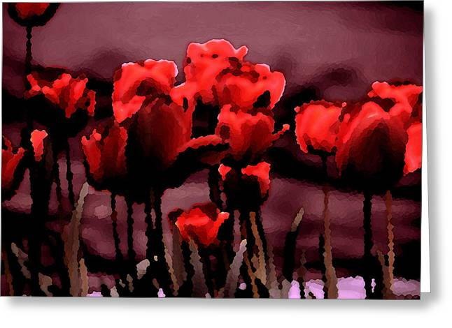 Red Tulips At Dusk Greeting Card by Penny Hunt