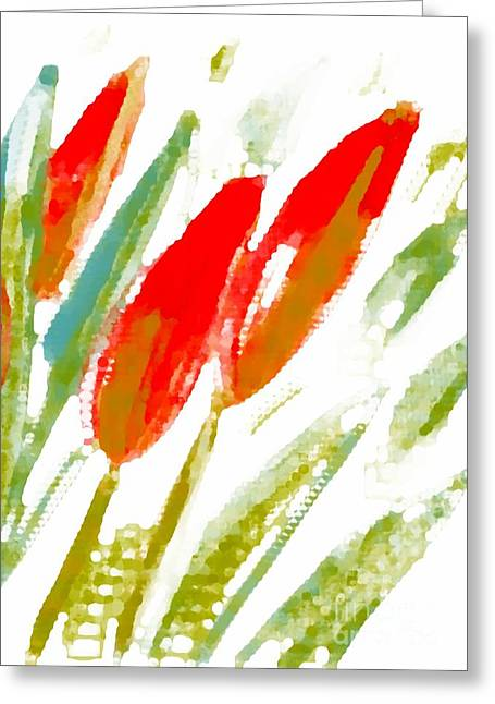 Greeting Card featuring the digital art Red Tulips by Barbara Moignard