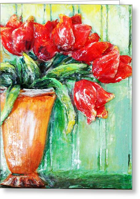 Red Tulips In Vase           Greeting Card