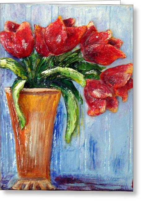 Red Tulips In Vase Mini Sculpture Greeting Card