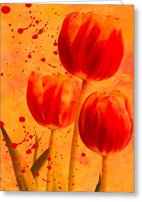 Red Tulips Greeting Card by James Bethanis
