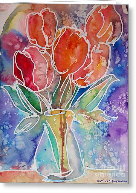 Red Tulips Greeting Card by M C Sturman