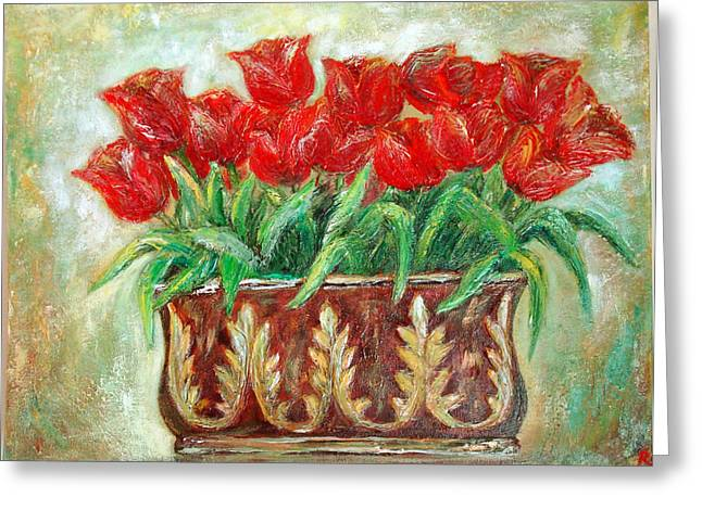 Red Tulips On The Wall Greeting Card