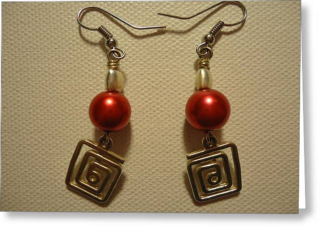 Red Twisted Square Earrings Greeting Card