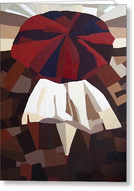 Red Umbrella Greeting Card by Alena Samsonov