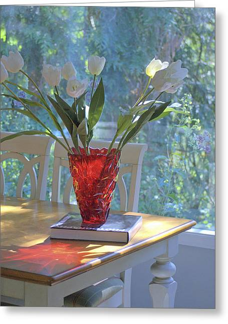 Red Vase With Flowers In Window Greeting Card