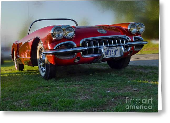 Red Vette Greeting Card by Larry Simanzik