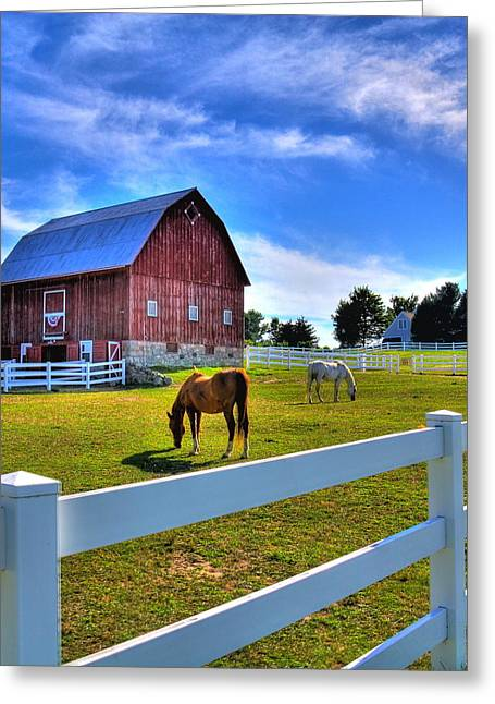 Greeting Card featuring the photograph Red White And Barn by Coby Cooper