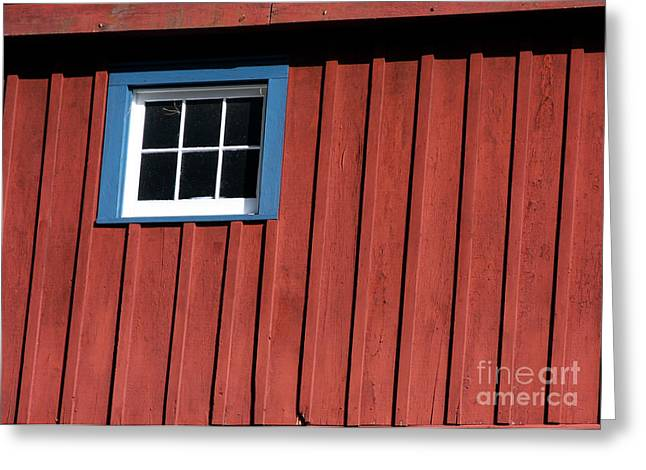 Red White And Blue Window Greeting Card by Sabrina L Ryan
