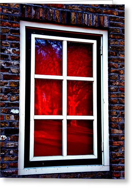Red Window Holland Greeting Card by Rick Bragan