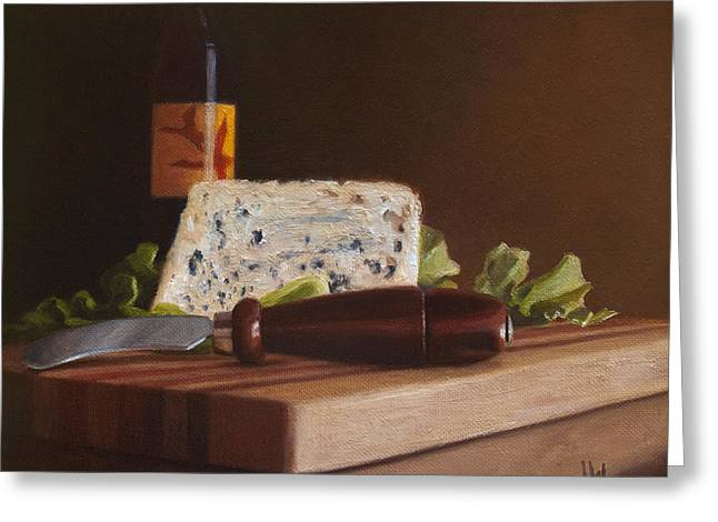 Greeting Card featuring the painting Red Wine And Bleu Cheese by Joe Winkler