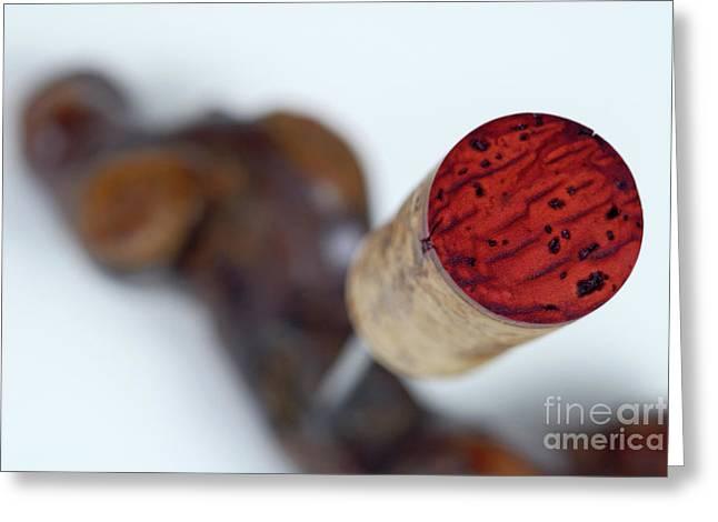 Red Wine Cork On Corkscrew Greeting Card by Sami Sarkis