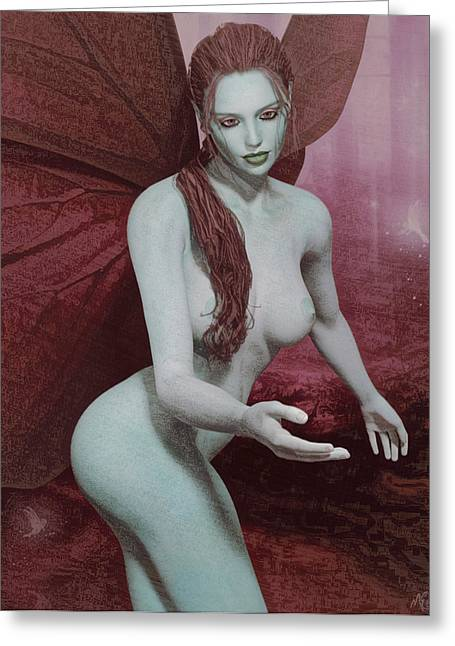 Greeting Card featuring the painting Red Winged Fae by Maynard Ellis