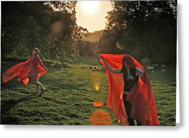 Red Witches Dance Greeting Card by Angel  Tarantella