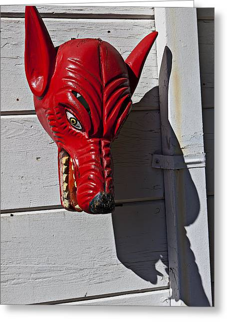 Red Wolf Mask Greeting Card by Garry Gay