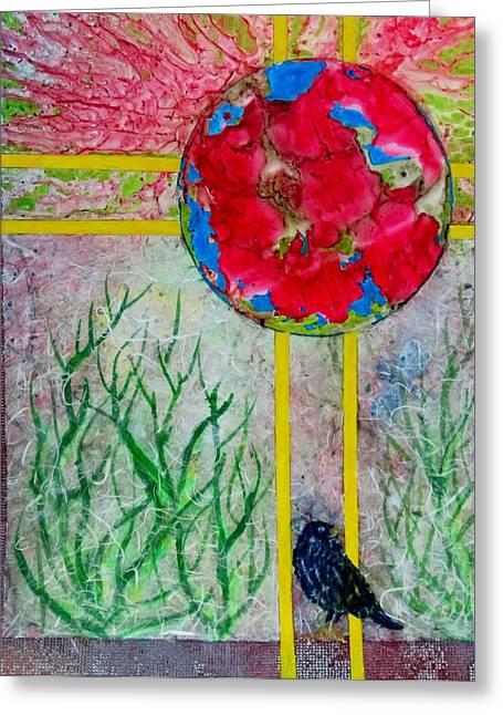 Red World Greeting Card by David Raderstorf